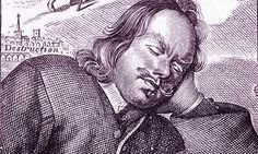 John Bunyan, detail from the frontispiece of the 4th edition of The Pilgrim's Progress (1680).
