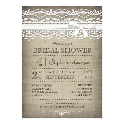 Vintage Lace Linen Rustic Country Bridal Shower Invitation |