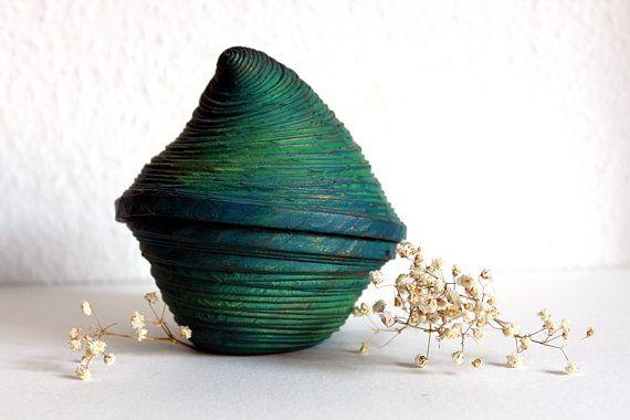 Caja duende verde musgo por Fetapapier en Etsy