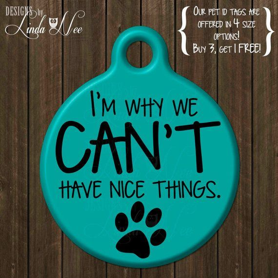 Personalized Pet ID Tags ~ Im why we cant have nice things ~ Funny Dog ID Tag, Cute Pet ID Tag, Custom Pet Tag, Dog Tag… http://ibeebz.com