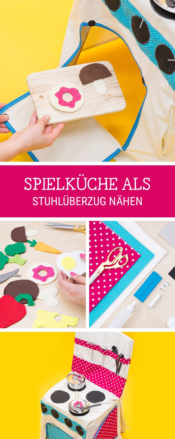 DIY-Anleitung: #Spielzeugküche nähen als Überzug für einen Stuhl, alternative #Husse / #sewingpattern for a children's kitchen via DaWanda.com