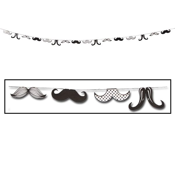 Decorate your party room with some moustache moxie!ᅠ The Moustache Party Garland features a repeating pattern of 4 different paper moustaches styles in black and white that hang freely from a string.ᅠ