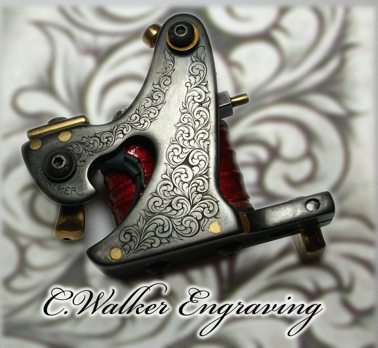 This is a walker style tattoo machine frame fabricated by Firehorse Irons, which I engraved and inlayed with Argentium Silver. The finish is chemical blued and brushed. (edit: updated the photo to ...