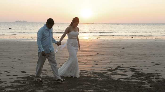 Sunset starts a new chapter for the couple ~ A seaside -sunset wedding