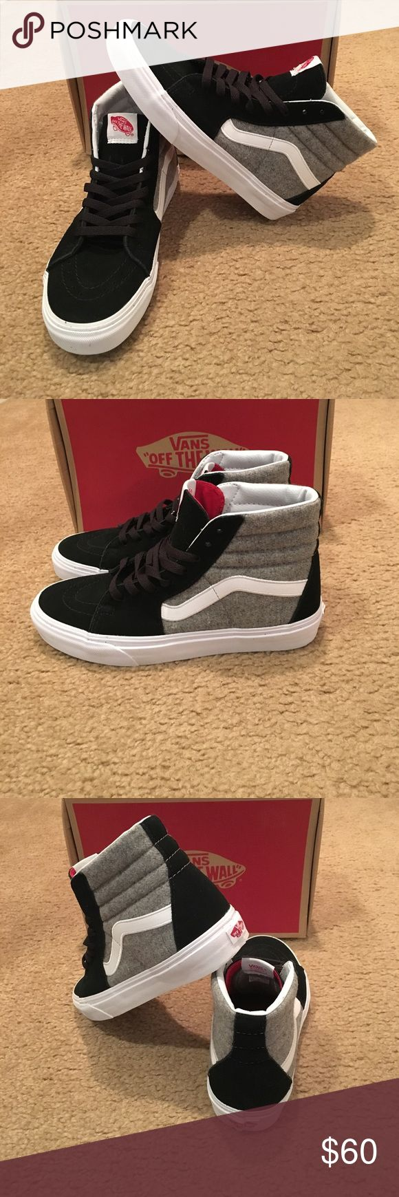 Vans Sk8Hi Wool Sport New in box. Unisex. Black/Gray Vans Shoes Sneakers