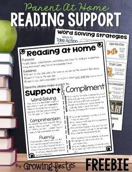 """Help provide support for your parents when your students take home books to read at home. Parents don't always have """"reading-teacher-language"""" on the tip of their tongues to compliment and/or support their readers. This document will do just that, providing information on comprehension, fluency & word-solving.For each of my first graders, I print this two-sided on cardstock, laminate and store in each child's Take Home Book Envelope."""