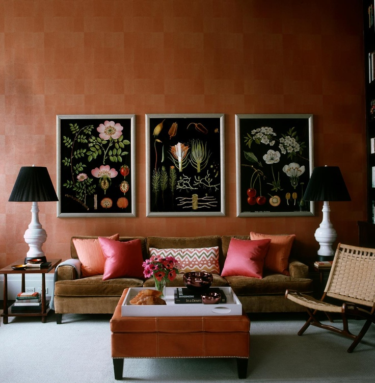 Orange Wall Treatment Love These Botanical Studies Steven Gambrel