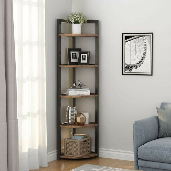 Summerall 5 Tier Corner Bookcase Corner Decor Living Room Corner Corner Bookshelves