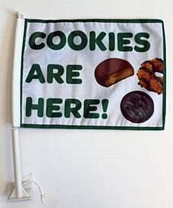 """Cookies are here"" car flag."