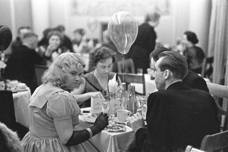 The New Year's Eve of the Lonely hearts in a Café on Nowy Świat (New World) street in Warsaw    Photo: Tadeusz Rolke (Born: Poland, 1929 - )  Poland - Warszawa (Warsaw), 1957