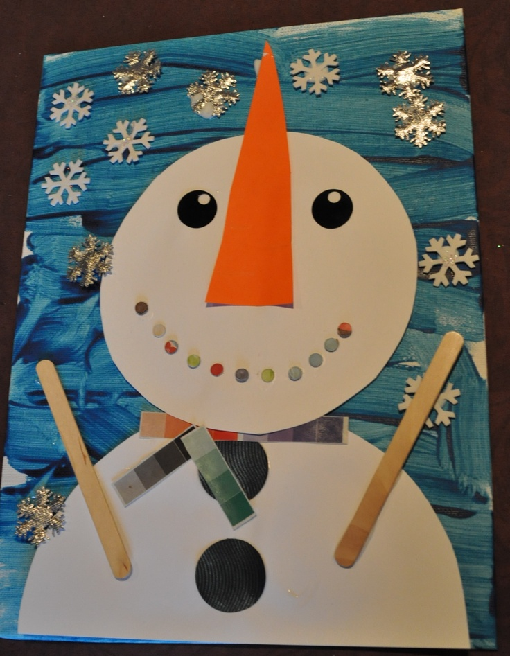 Snowman canvas for a fun DIY kid's craft.