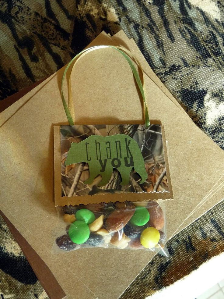 camo baby shower thank you favors | ... Mix in a bag with a Thank You bear on the front and a ribbon handle