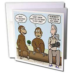 Rich Diesslins Funny General Cartoons - Dr. Jane Goodalls 50th anniversary at GDI - monkey business - Greeting Cards-6 Greeting Cards with envelopes by 3dRose. $10.49. Dr. Jane Goodalls 50th anniversary at GDI - monkey business Greeting Card is measuring 5.5w x 5.5h. Greeting Cards are sold in sets of 6 or 12. Give these fun cards to your friends and family as gift cards, thank you notes, invitations or for any other occasion. Greeting Cards are blank inside and come with whit...
