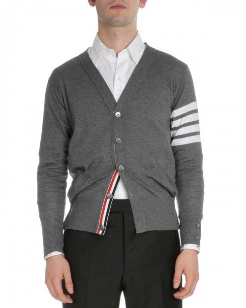 Thom+Browne+Classic+Cardigan+with+Stripes+Gray+Men's+2+|+Sweater+and+Clothing