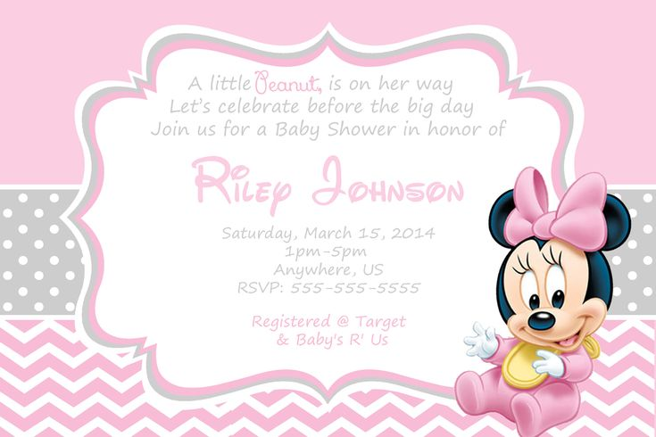 Minnie Mouse Baby Shower Invitations Free Templates