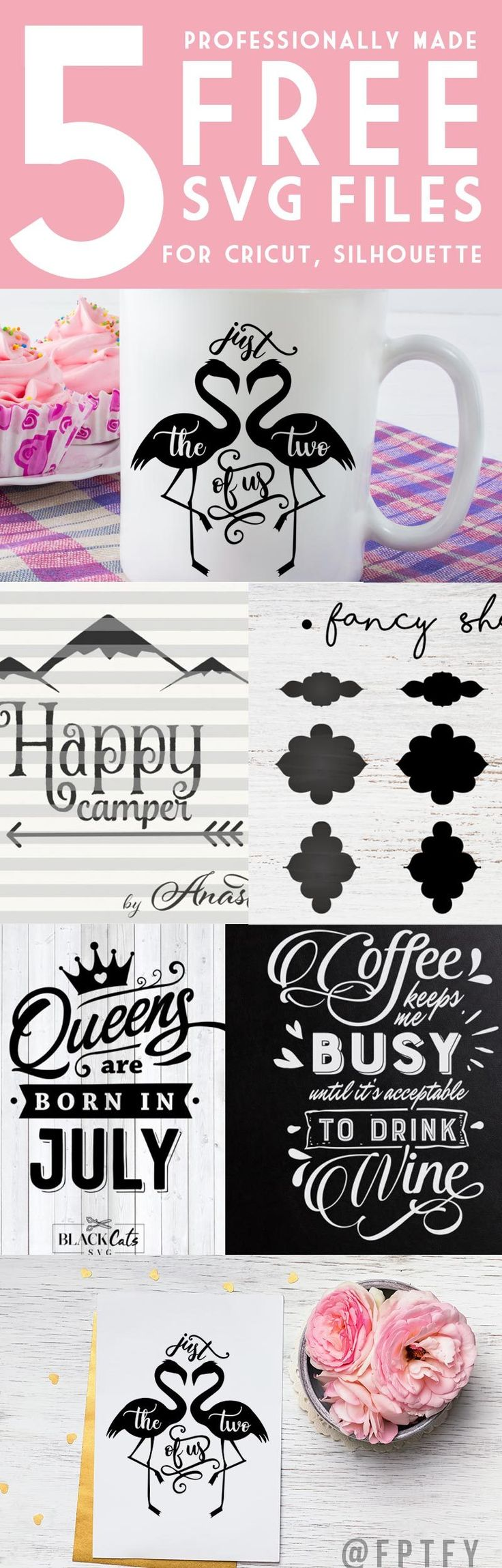 FREE 5 Professionally Made SVG Cutting Files, compatible with Cameo Silhouette, Cricut. Flamingo Free SVG, Coffee Free SVG, Happy camper Free SVG, Queens Free SVG