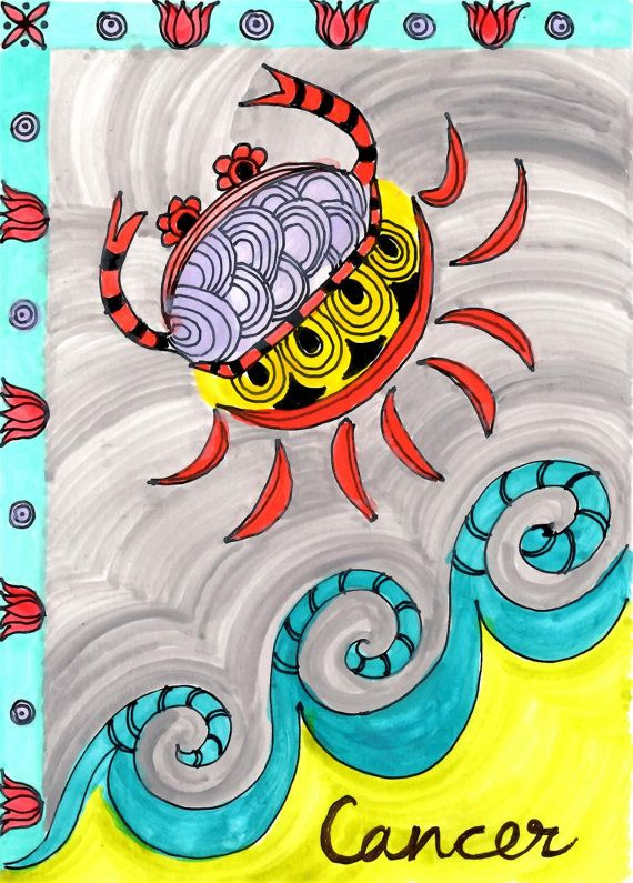 """CANCER ZODIAC sign PRINT ink and acrylic painting 5""""x7"""" element water"""