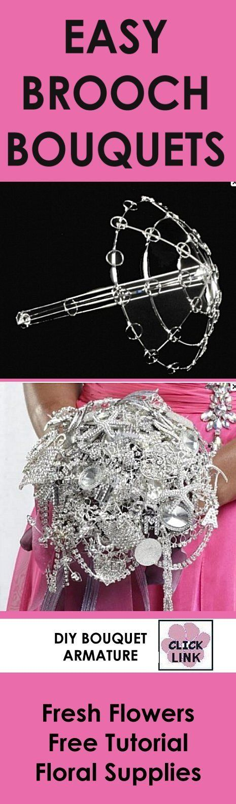 Crystal Bridal Bouquet Holder - Step by Step Tutorial  - Lightweight armature that cuts down the heavy weight of brooch bouquets!  Check it out - free tutorial!  Learn how to make bridal bouquets, corsages, boutonnieres, reception table centerpieces and church decorations.  Buy wholesale fresh flowers and discount florist supplies.