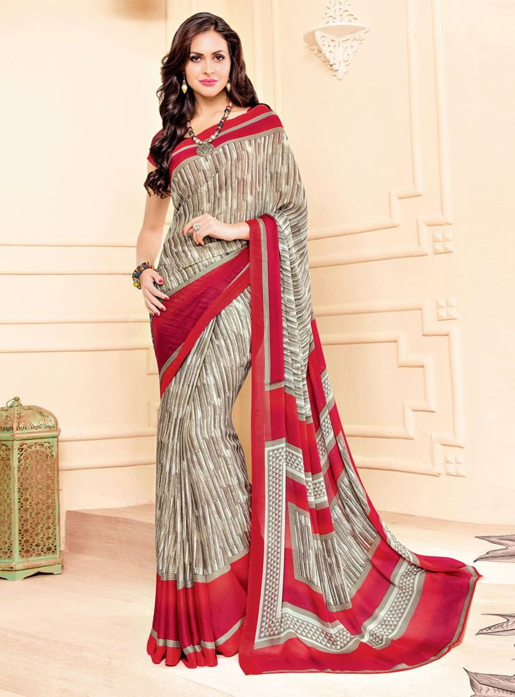 Light Brown Crepe Printed Saree With Blouse 85423