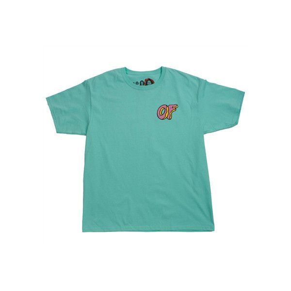 DONUT MINT TEE ($30) ❤ liked on Polyvore featuring tops, t-shirts, shirts, blue tee, mint green top, blue shirt, mint tee and mint shirt