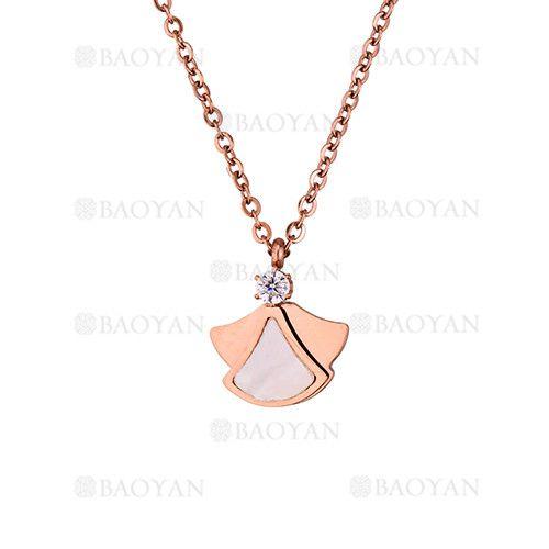 collar con piedra de oro rosado en acero para mujer-SSNEG403149