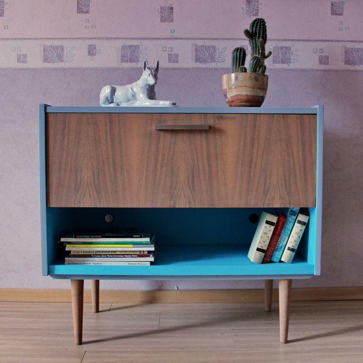 Купить Тумба винтажная в стиле mid-century - серая мебель, голубая мебель, mid century