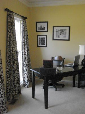 sherwin williams ivoire. with black and white damask curtains would look good in our office.Black Desks, Black And White, White Damasks, Damasks Curtains, House, Damasks Ideas, Ivoire Sherwin Williams, B W Damasks, Home Offices Ideas