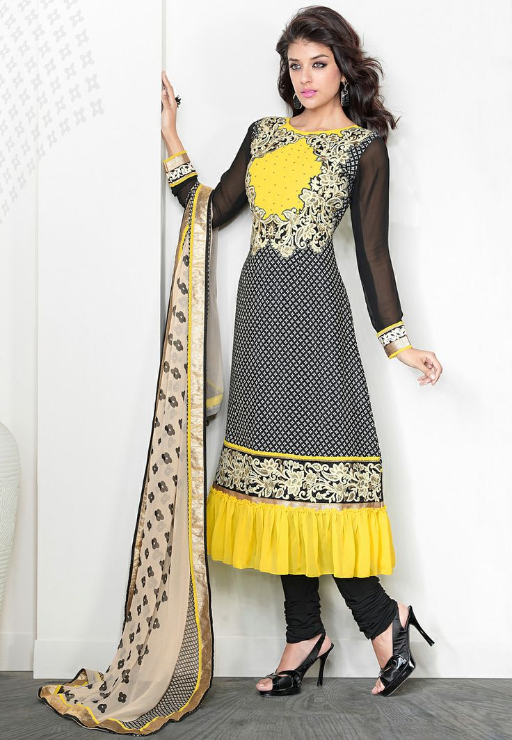 #Black and Off #White Faux Crepe #Churidar #Kameez Itemcode: KHA58 Price: $62.50 #Shop Now @ http://www.utsavfashion.com/salwar/black-and-off-white-faux-crepe-churidar-kameez/kha58-itemcode