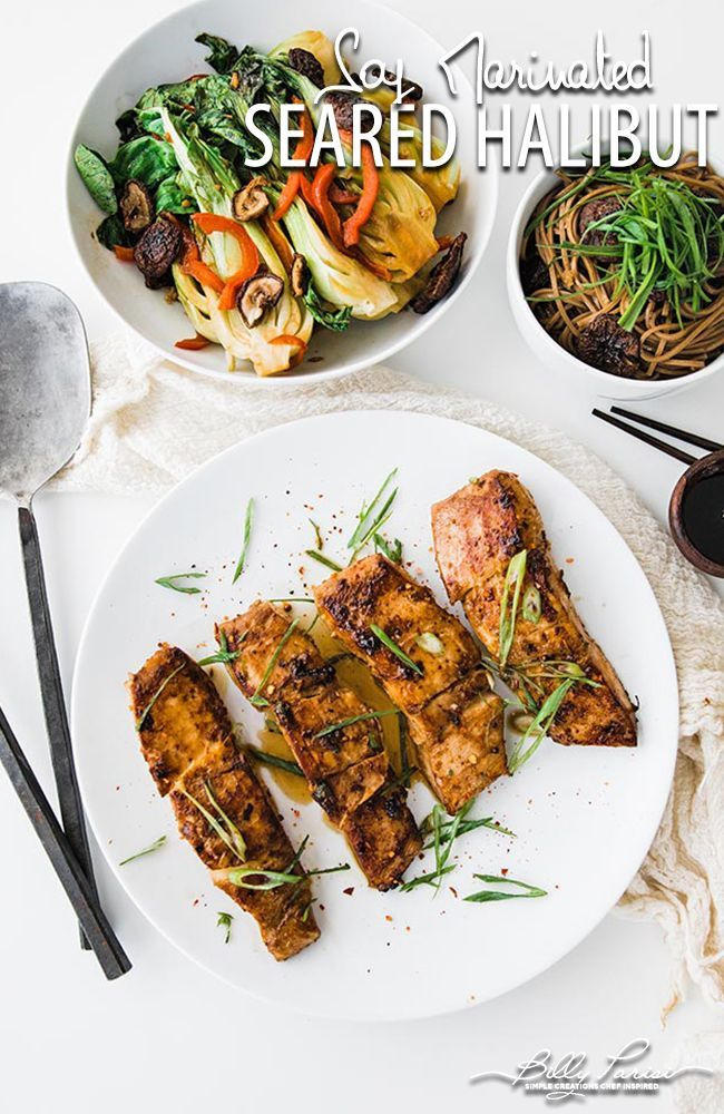 230d7b04ee48 Miso Halibut with Bok Choy - super delicious miso marinated pan roasted  alaskan halibut with an amazing side dish of bok choy and sweet soba  noodles.
