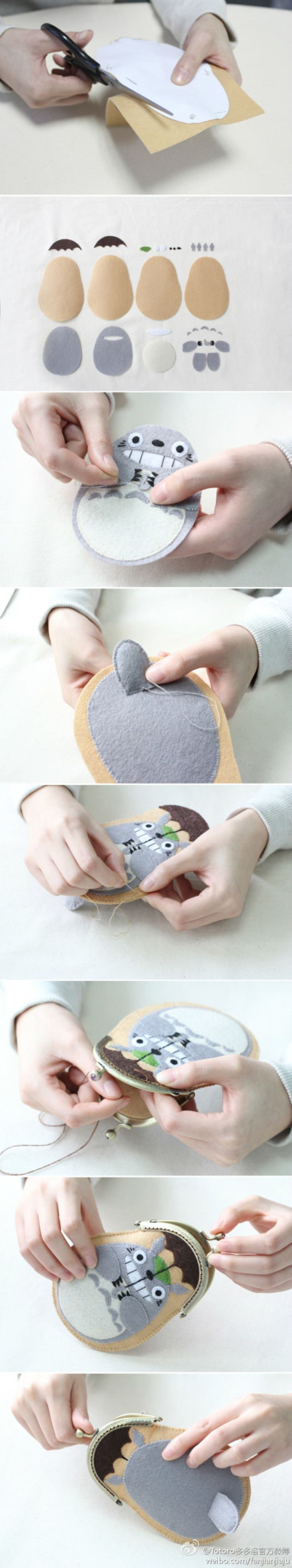 Felt Totoro coin purse -- too cute for words!