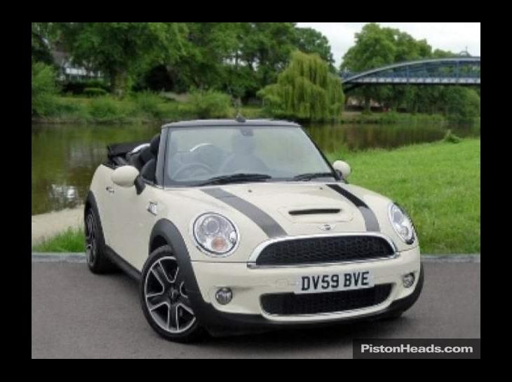 cream convertible mini cooper