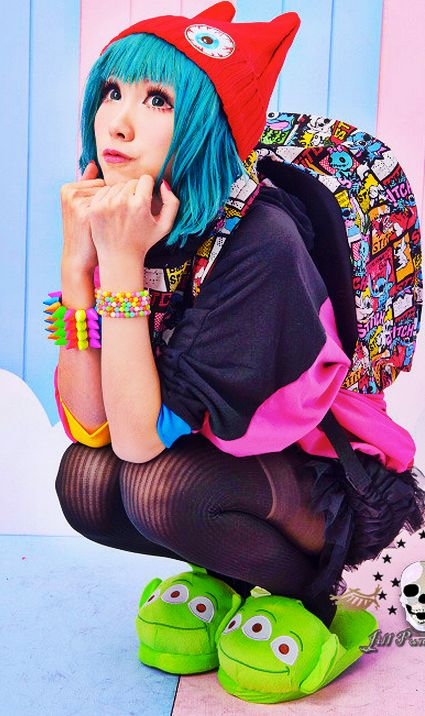 kawaii http://sweetbox.storenvy.com/. Her hat, outfit, bag and bracelets I WANT! <3:
