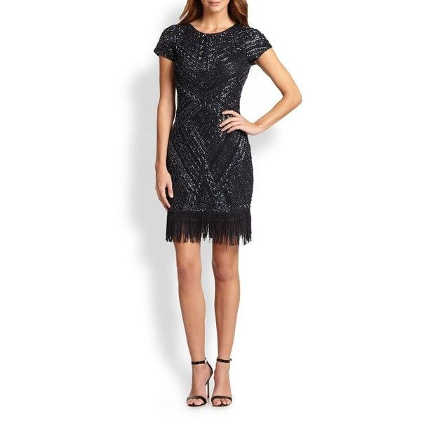 Aidan Mattox Beaded Fringe-Trim Dress ($125) ❤ liked on Polyvore featuring dresses, apparel & accessories, slate, white beaded cocktail dress, white fringe dress, white cocktail dresses, aidan mattox dresses and round neck dress
