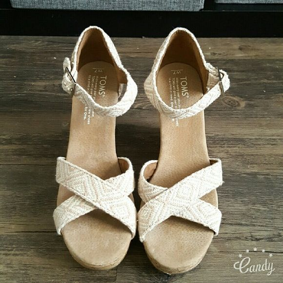 """*SALE ONLY TODAY*  TOMS wedge sandals ***PRICE FIRM*** Authentic TOMS Espadrille wedge sandals New without box Natural nude Various sizes linen rubber sole Platform 1.00"""" Adjustable strap  Cork Wedge TOMS Shoes Espadrilles"""