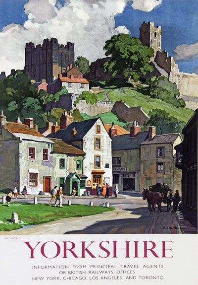 TU10 Vintage Yorkshire Richmond Railway Travel Poster Re-Print A3 A2