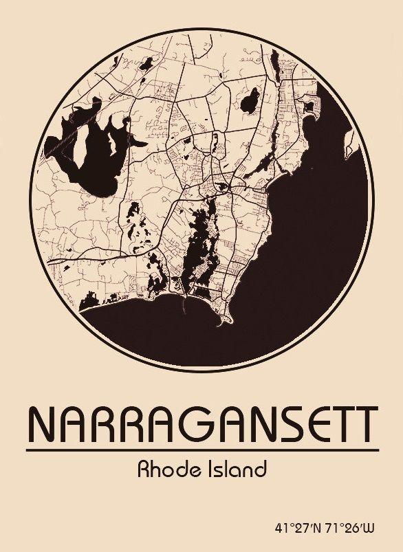 Karte / Map ~ Narragansett, Rhode Island - Vereinigte Staaten von Amerika / United States of America / USA