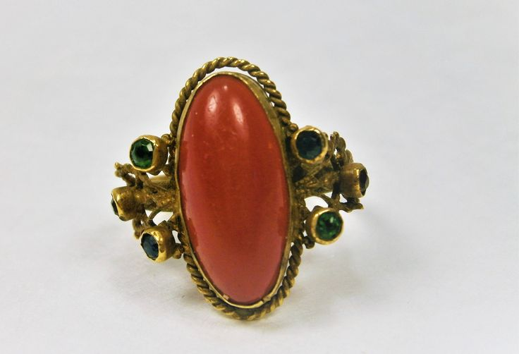 Victorian Style Vintage Ring, Bezel Set Carnelian Glass Cabochon, Size 7 1/2,  Gold Tone Ring, 6 Green Glass Crystals, Cocktail Ring by Eklektibles on Etsy