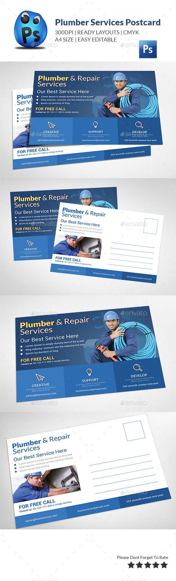 best ideas about postcard template post card plumber service postcard template photoshop psd postcard template drain available here rarr