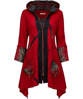 """Look ravishing in red with this unique oversized coat. We love the squiggle yarn textured fabric that accents the pockets and hood. It's ideal to warm up winter. Approx Length: 82cm Our model is: 5'7""""  Cami  sold separately"""