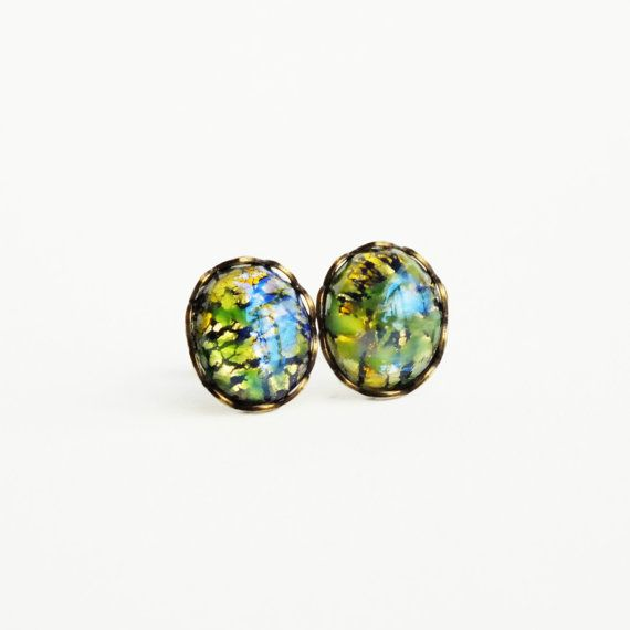Green Opal Post Earrings Opal Studs Vintage Foiled by skeptis