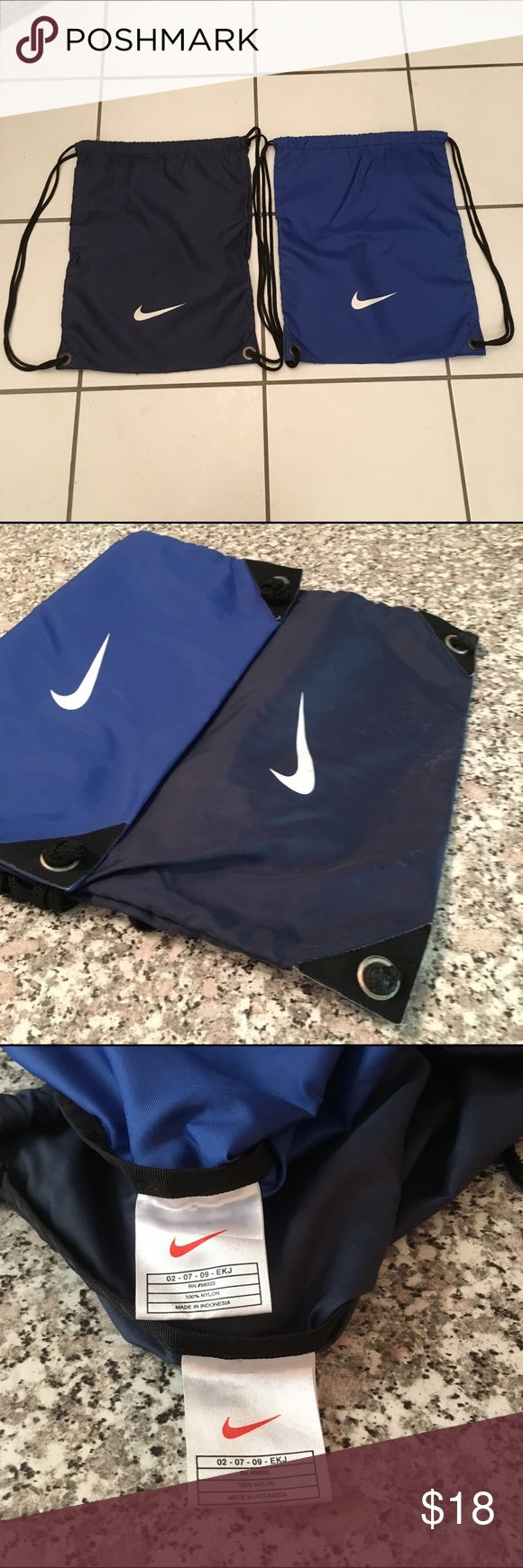 Nike lightweight drawstring bags BUNDLE $18 BUNDLE!!! GUC Two Nike lightweight drawstring bags. One is royal blue and the other is navy blue. Both have a white Nike swoosh and strong black cords. All items come from a smoke free home. Measurements available upon request. All questions are welcome. Nike Bags Backpacks