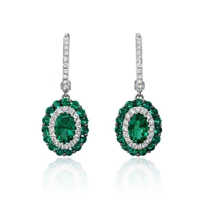 18k White Gold Diamond Emerald Dangle Earrings In Jewelry Watches Fine