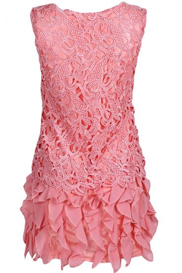 #SheInside Pink Sleeveless Lace Ruffles Chiffon Dress - Sheinside.com