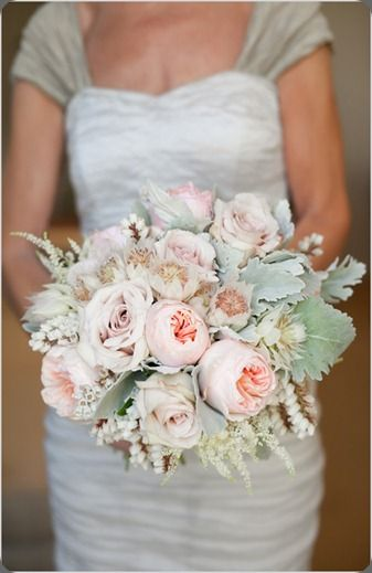 Soft and romantic: garden roses, roses, veronica, dusty miller. Very pretty. #wedding #bouquet by kristajon