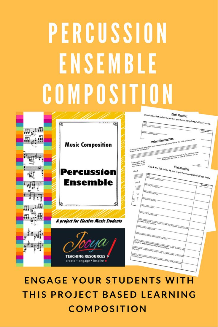 Inspire creativity and engage your music students with this Project Based Learning Composition Assignment – Percussion Ensemble. Students create and perform an ensemble piece using both tuned and untuned percussion.