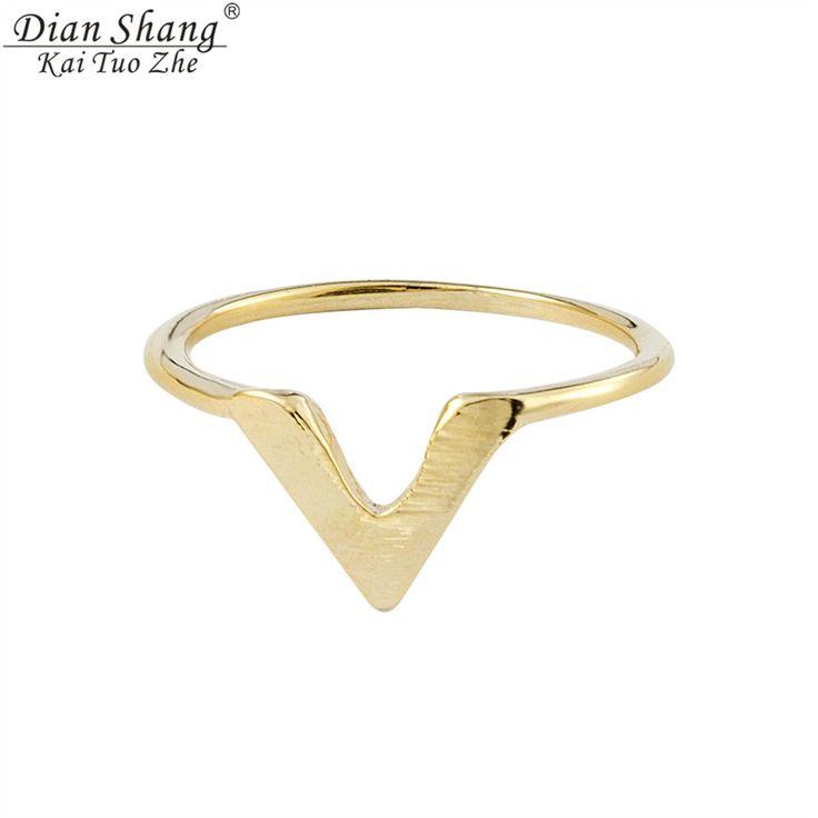 الذهب والفضة dianshangkaituozhe البسيط سلك شيفرون المفصل مدبب v خواتم الأزياء بيجو فام الجسم مجوهرات للنساء الرجال