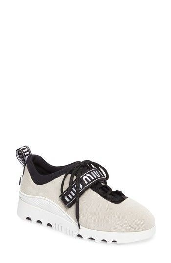 78fc674f2880 MIU MIU LOGO STRAP PLATFORM SNEAKER.  miumiu  shoes    miumiushoes   miumiulogo