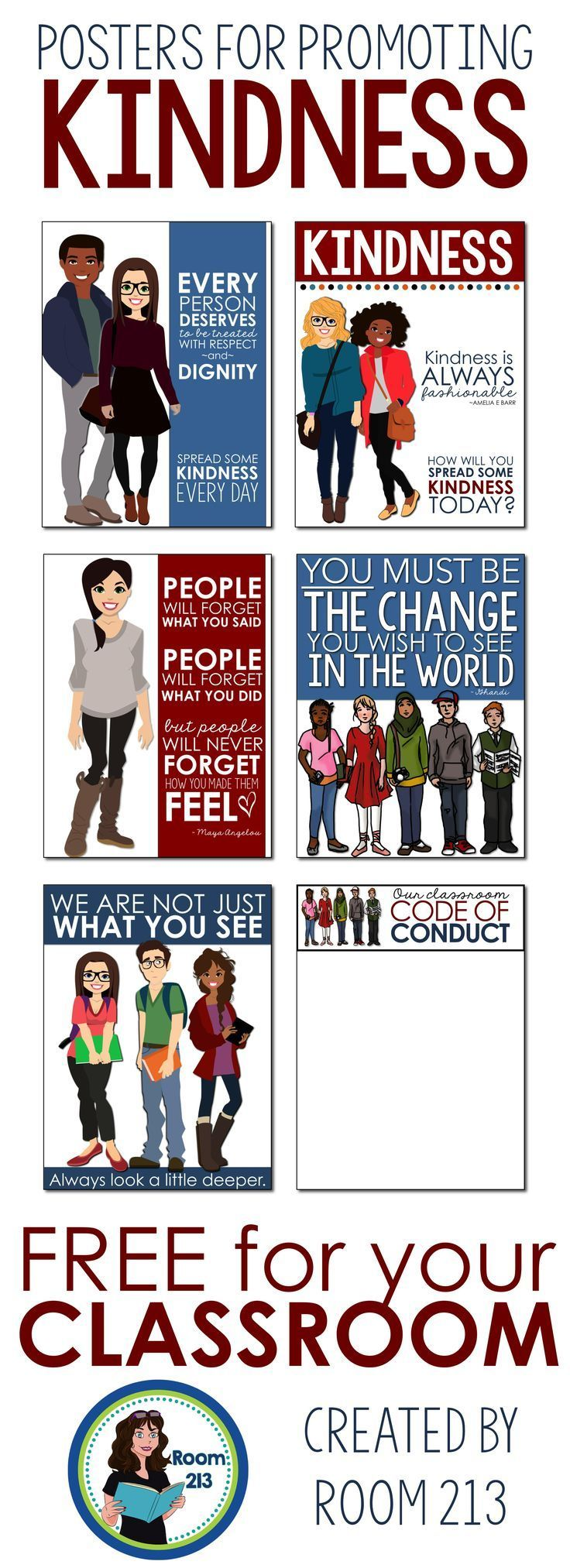 Encourage kindness and acceptance in your classroom with these colourful and FREE posters!