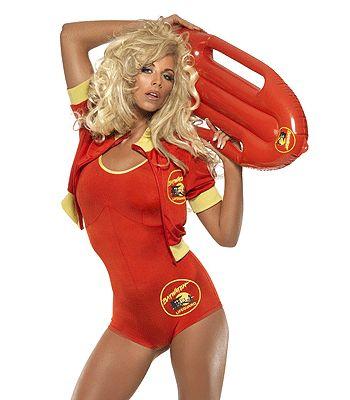 Baywatch kostuum voor dames in het rood. Dit Baywatch zwempakje is inclusief rood badpak, jasje en drijver. Voel jezelf Pamela Anderson. Carnavalskleding 2015 #carnaval