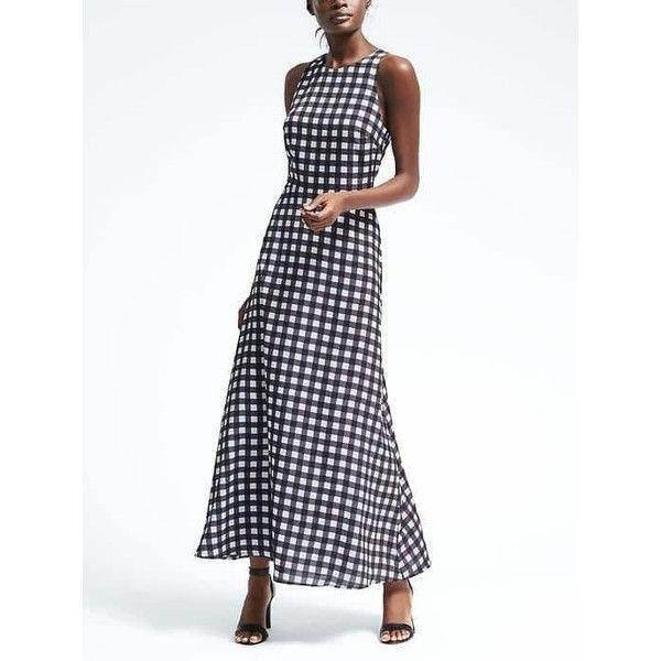 Banana Republic Womens Gingham Maxi Dress (€115) ❤ liked on Polyvore featuring dresses, petite, petite length maxi dresses, sleeveless dress, white maxi dress, banana republic dresses and gingham dress